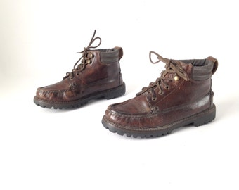 Size 6 women's grunge CHUKKA 80s 90s Brown LEATHER ankle boot shoes
