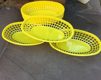 Yellow Food Baskets, Food Tray, Party Baskets, Use for Party, Picnic, BBQ, Events