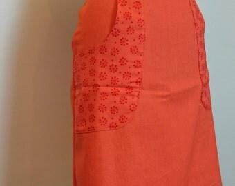 Orange denim skirt with contrast cotton pockets SALE *Ready to ship*
