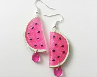 Summer earrings pendants, watermelon, pink, fruit, * READY TO SHIP*