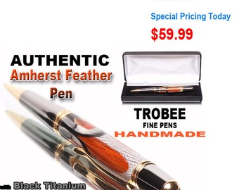 Extremely nice high end luxury ballpoint pen, made with rare Amherst feathers, titanium, and 22kt gold