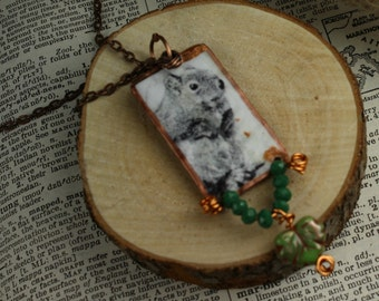 Woodland Squirrel Wild Nature Inspired Boho Necklace Pendant Necklace Handcrafted Squirrel Pendant