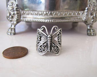 Vintage Filigree Butterfly Sterling Silver Ring, Size 6, thick and sturdy