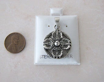 Buddhism Double Dorje sterling silver pendant