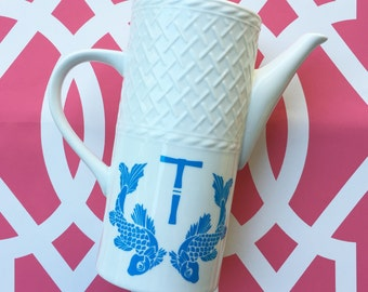 Koi Vinyl Decal with single bamboo initial