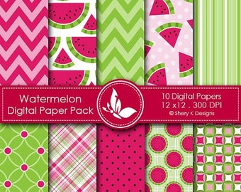 40% off Watermelon Paper Pack - 10 Printable Digital Scrapbooking papers - 12 x12 - 300 DPI
