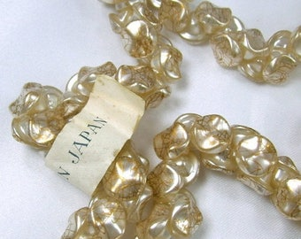 ON SALE Vintage Glass White Faux Pearl and Gold Shank Buttons Japan New Old Stock