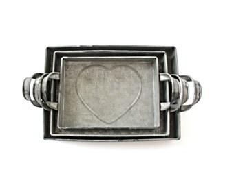 Tin Heart Tray . heart pan . heart tray . cottage decor . farm decor . metal tray . tin tray . shabby chic wedding decor . nesting trays