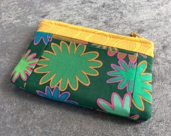 Wallet Coin Purse Card Carrier Bright Green and Yellow