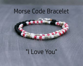 I Love You Bracelet - Love Bracelet - Secret Code Bracelet for wife - Secret Message Jewelry for Girlfriend - I Love You Morse Code Jewelry