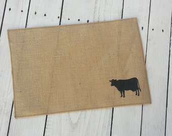 Cow Burlap placemats,  screen printed place mat,burlap place mat, table mat, Holstein linen