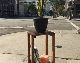 Slatted Wood Plant Stand/End Table