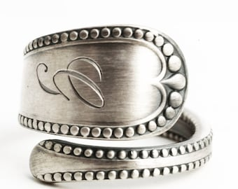 Minimalist Sterling Silver Spoon Ring, Antique Gorham 1895 Newcastle, Milgrain Ring, Engraved G, Handcrafted Ring, Adjustable Ring Size 6273