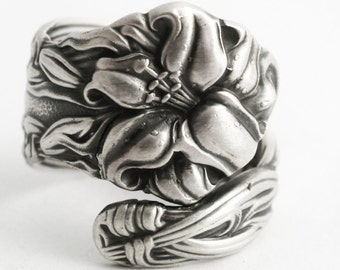 Tiger Lily Ring, Lovely Frontenac Spoon, Victorian Sterling Silver Spoon Ring, Stargazer Lily Handmade Gift for Her, Custom Ring Size (6590)