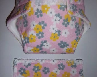 Baby Doll Diaper/wipe - gray, white and goldenrod flowers on pink  - adjustable for many dolls such as bitty baby