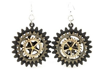 Triple Layered Spinning Kinetic Gears  - Laser Cut Wood Earrings - 5004E