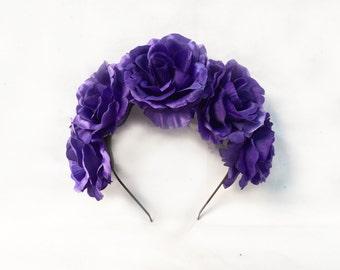 Blue Rose Flower Crown, Blue Rose Flower Crown, Navy Blue, Blue Floral Crown, Blue Flower Headpiece, Blue, Periwinkle, Rose Crown, Boho