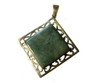 Sterling Silver Chrysoprase Filigree Pendant & Brooch