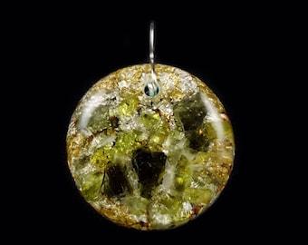 Moldavite Peridot Orgonite® Pendant with Arkansas, Petalite & Phenacite Crystals, Elite Shungite, Tourmaline, Selenite, Rhodizite (d9)