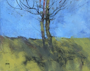 Original tree landscape painting - Heathland trees study