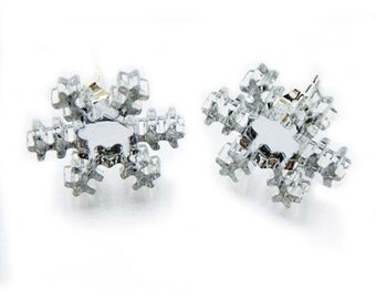Mirrored Silver Acrylic Snowflake Earrings