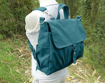 Teal green canvas backpack for men and women, multipurpose bag, canvas rucksack, travel bag, school bag, diaper bag
