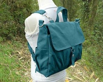 Fathers Day Sale 20% off Teal green canvas backpack for men and women, multipurpose bag, canvas rucksack, travel bag, school bag, diaper bag