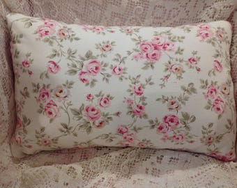 Shabby Chic Pillow COVER pink and white ROSEBUD pattern RETIRED hard to find Poplin fabric