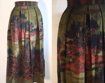 FREE SHIPPING//Vintage Asian Victorian trees skirt//Moss green dress//size large