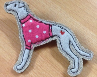 Whippet brooch, greyhound applique pin, embroidered greyhound brooch, felt brooch pin, dog lover gift, whippet lover, greyhound lover