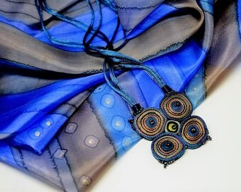Gift set: fabric necklace and silk scarf blue, textile necklace blue, gift for woman, gift for her - Personalized gifts OOAK ready to ship