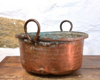 French Country Copper Planter plant pot flower  garden conservatory cauldron indoor