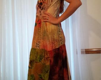 Leopard Lily Gypsy Hippy Boho T Shirt Dress Tattered Mosaic Sz L