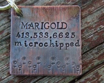Custom Dog ID Tag- The Marigold- Custom Pet Tag- Tag for  Medium Large Dog-Personalized Dog ID Tag-Pet Tag-Dog Tag-Tag for puppy-Flower Tag