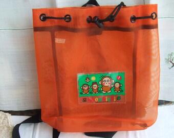 Vintage  Monkichi Drawstring Backpack. Orange Mesh. 1992-1997 Edition. Sanrio Monkeys Sheer Backpack.