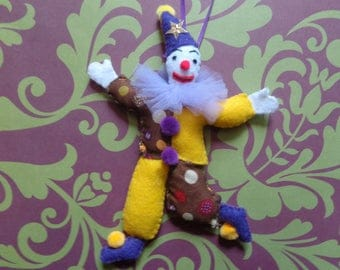 Handmade Mardi Gra Clown Ornament by Pepperland