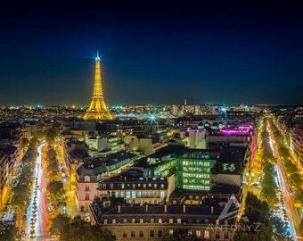 Paris Rooftops and the Eiffel Tower Night  - 8x10 Fine Art, Print Paris Decor, Paris Print, Travel Photo Paris Decor Print