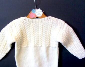 Hand Knit sweater, cream knit sweater, girls knit Sweater, boys knit sweater, toddler knit sweater, cream knit sweater, cable knit sweater