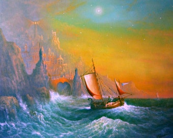 The Silmarillion Voyage Of Earendil. Fine Art Print From My Original Oil Painting.