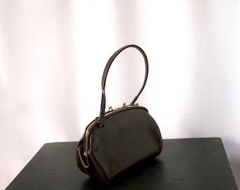 1940's Rich Brown Leather Satchel, Double Compartment Handbag