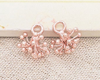 2 of Karen hill tribe Rose Gold Vermeil Style Flower Charms 8x12 mm. :pg0470
