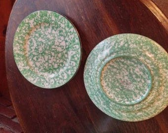 Stangl Town and Country green splatterware plates