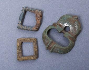 Set of 3 antique connectors parts of brass  belt buckles, dark patina
