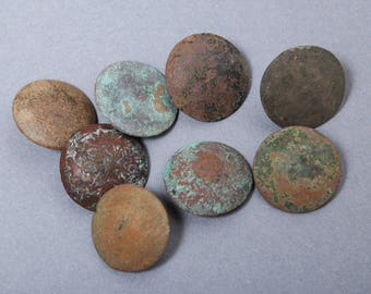 Set of 8 Antique metal buttons, original dark patina