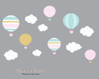 Hot Air Balloon Decals-Hot Air Balloon with Clouds-Gold Pink Aqua Nursery Decor-Girls Nursery Wall Decor-Wall Decals-Wall Stickers