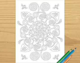 Garden Coloring Page, Flower Coloring Page, Bee Coloring Page, Leaf Coloring Page, Leaves Coloring Page, Digital Download