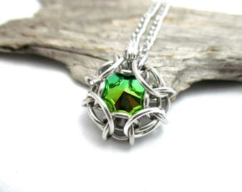 Swarovski Crystal Pendant - Phaedra Chainmaille Pendant - Swarovski Crystal Chainmail Pendant - Scarabaeus Green
