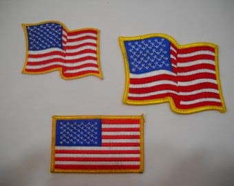 USA American Flag Embroidered Iron On Patches Set Of 3 Craft Supply FREE SHIPPING