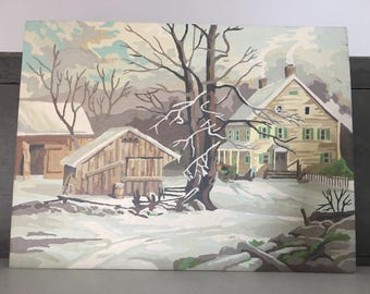 Vintage Painting By Number Winter American Household Scene 1950s Paint by Number / on sale