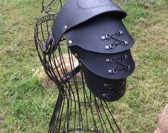 Ladies Carved Leather Pauldron with corset detailing.